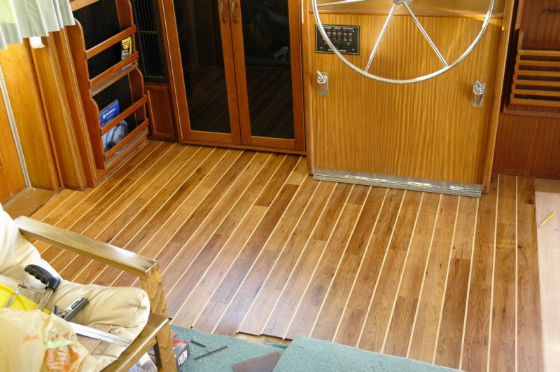 Amtico partially installed at helm